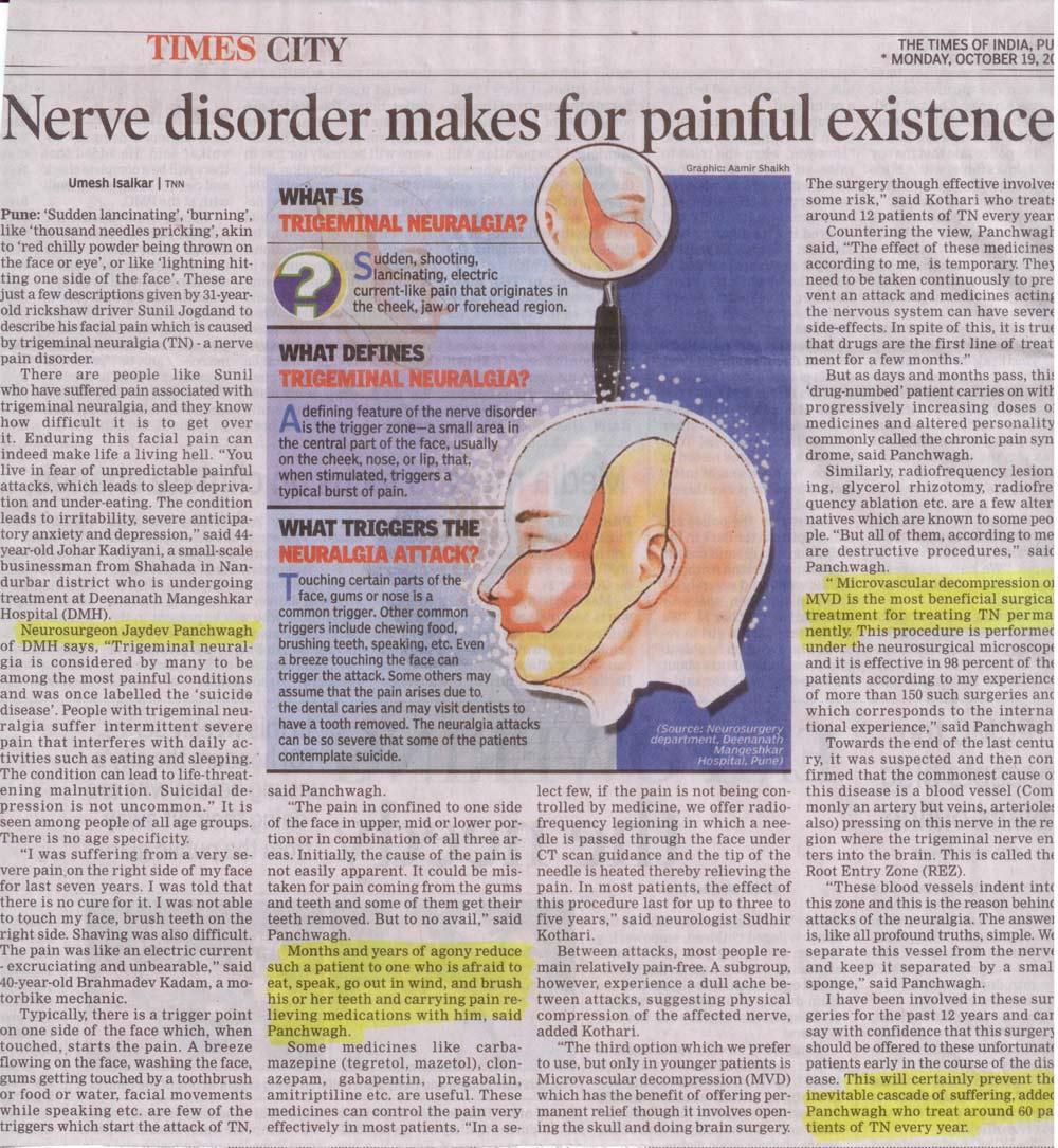 TOI Article on Dr. Jaydev Panchawagh's work on Trigeminal Neuralgia
